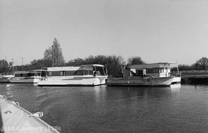 Houseboats at Wayford Bridge 1970s