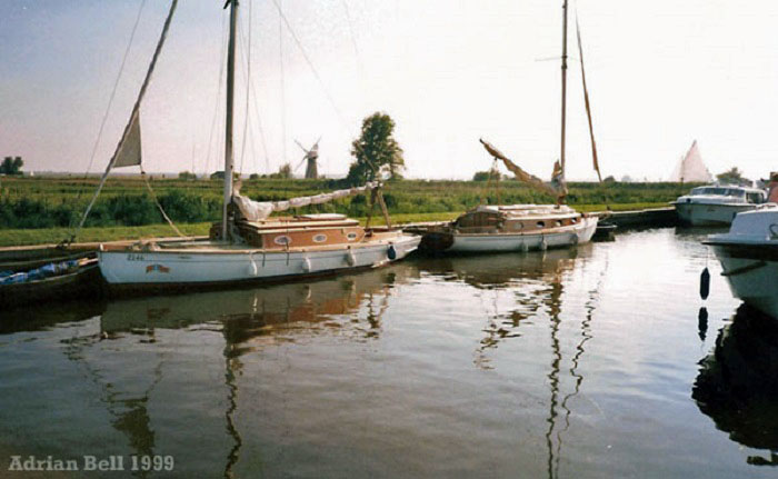 """Coriander"" & ""Delphinium"" moored at Thurne Dyke in May 1999"