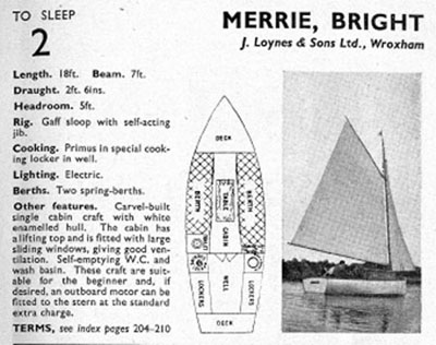 The entry for the yacht Bright in Blakes brochure
