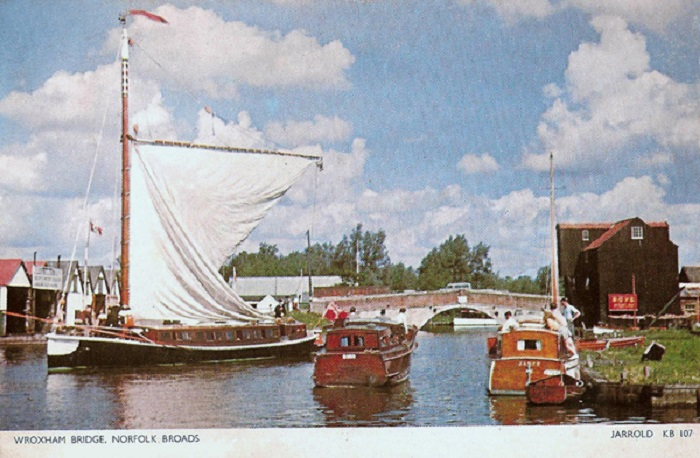 "The wwherry ""Hathor"" at Wroxham Bridge c1960"
